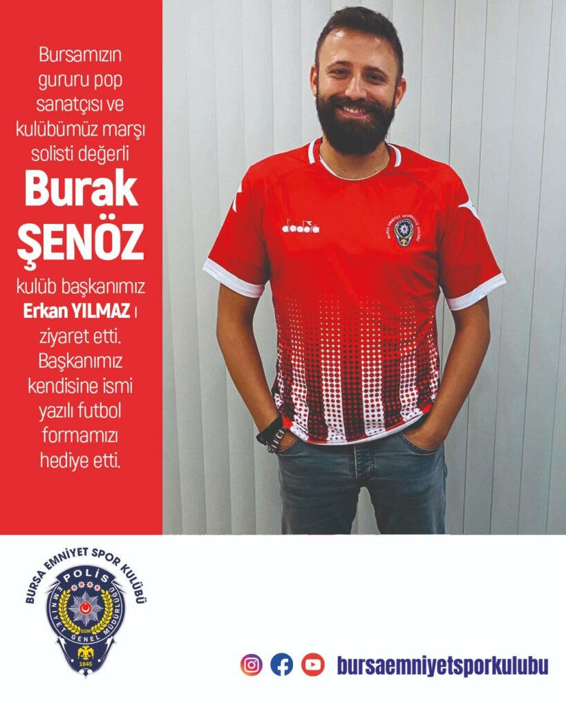 Bursamızın gururu pop sanatçısı ve kulübümüz marşı solisti değerli Burak ŞENÖZ kulüb başkanımız Erkan YILMAZ' ı ziyaret etti. Başkanımız kendisine ismi yazılı futbol formamızı hediye etti.